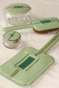 1920s 1930s vintage jadite green early plastic celluloid dresser set, hairbrush & mirror