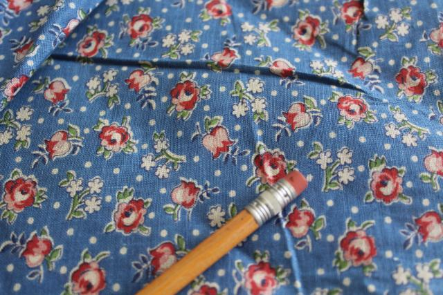 1920s 1930s vintage print cotton fabric, housedress or apron material tiny red roses on blue