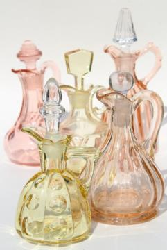 1920s 1930s vintage rose pink & amber yellow depression glass cruet bottles