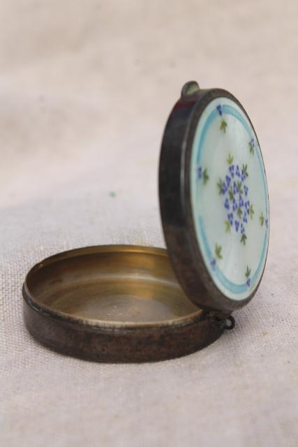 1920s 1930s vintage sterling silver powder compact w/ guilloche enamel floral design