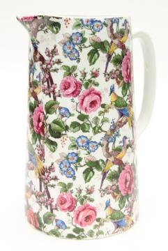 1920s 30s vintage English chintz china pitcher, birds & roses Lincoln pottery