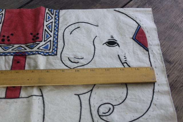 1920s 30s vintage Royal Society print cotton pillow to sew Indian elephant w/ embroidery