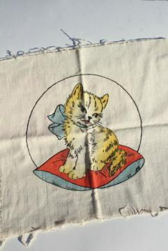 1920s 30s vintage Vogart tinted embroidery, embroidered kitten on shaded linen