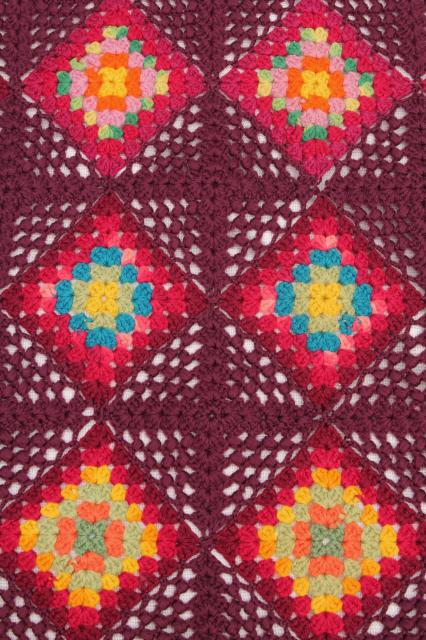 1920s 30s vintage bohemian crochet granny squares blanket throw, deep maroon red w/ jewel colors