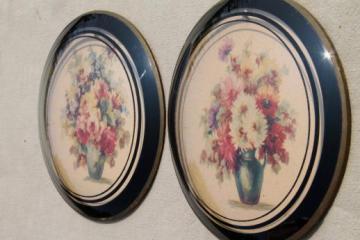 1920s 30s vintage convex bubble glass pictures w/ pair of antique floral prints