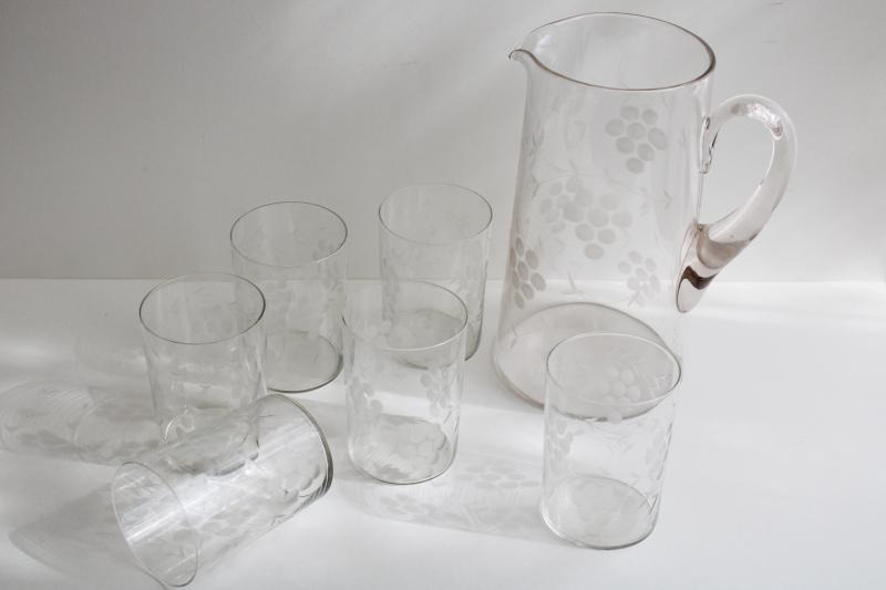 1920s 30s vintage etched glass lemonade pitcher and drinking glasses set