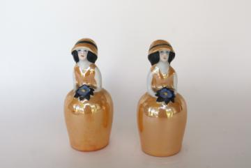 1920s 30s vintage flapper girl china doll salt & pepper shakers hand painted Japan