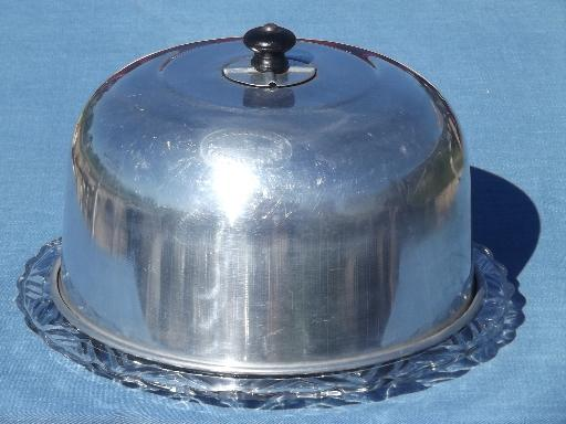 & 1920s 30s vintage glass cake plate w/ Connolly metal dome cake cover