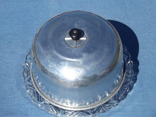 1920s 30s Vintage Glass Cake Plate W Connolly Metal Dome