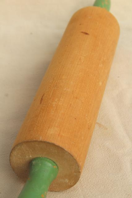 1920s 30s vintage hardwood rolling pin w/ green wood handles, antique kitchenware