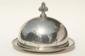 1920s 30s vintage pewter butter dish, antique table silver, dome cover plate