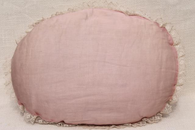 1920s 30s vintage pink & white lace trimmed embroidered cushions, throw pillows for bed or boudoir