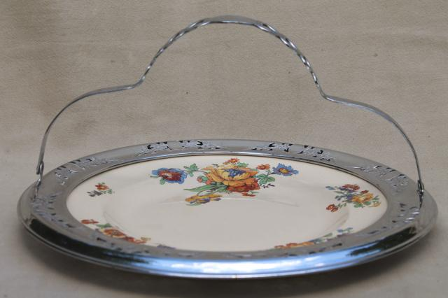 1920s 30s Vintage Tea Party Serving Tray China Plate W