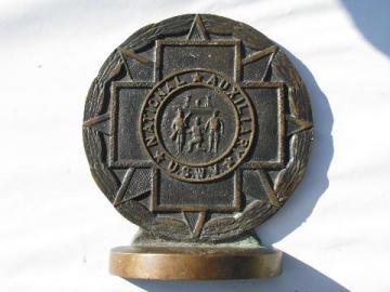 1920s USWV bronze book end United Spanish War Veterans / Rough Riders