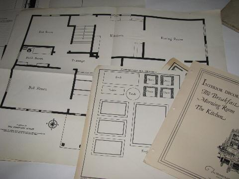 1920s interior architectural design set, scale map layouts for furniture & rooms