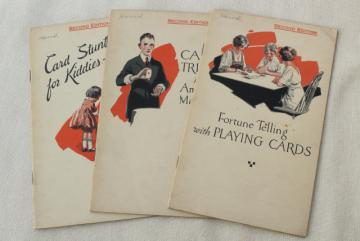 1920s playing card tricks & games booklets, parlor trick fortune telling house of cards