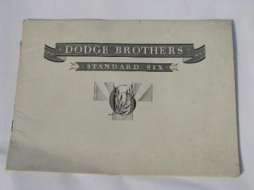 1920s vintage Dodge Brothers car catalog, Standard Six auto