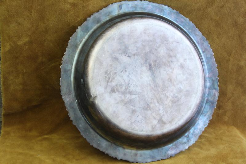 1920s vintage Friedman silverplate round bar tray w/ deep bowl shape, ornate border