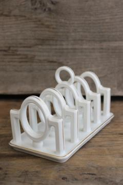 1920s vintage Germany china toast rack or letter holder, white porcelain w/ gold