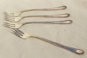 1920s vintage Gorham Vanity Fair silver plate flatware, tiny cocktail forks