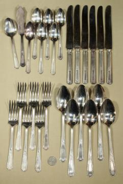1920s vintage Kensington silver plate flatware service for six