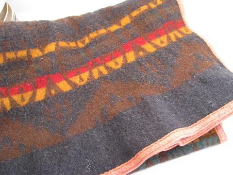 1920s Vintage Pendleton Label Wool Indian Camp Blanket