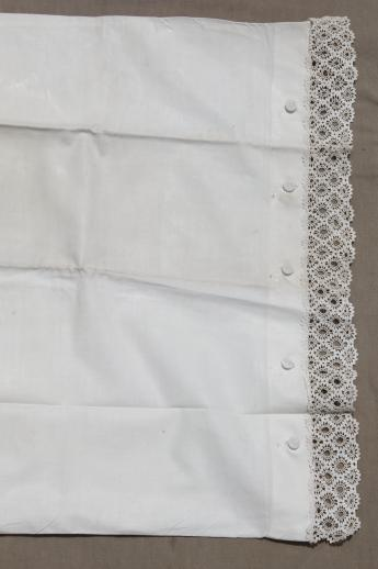 1920s vintage button-up pillowcases, pair of antique lace edged cotton pillow shams
