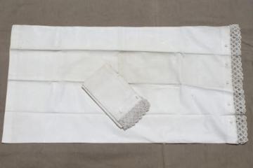 1920s vintage button-up pillowcases, pair of antique lace edged cotton pillow shams