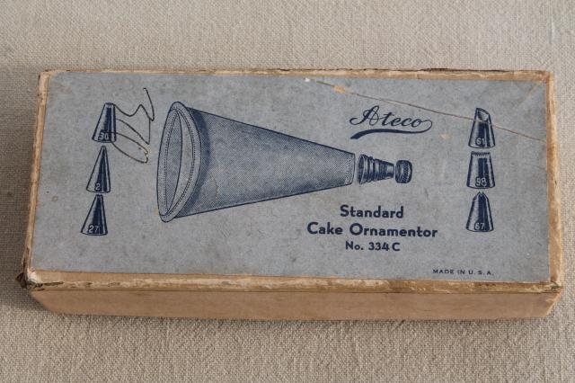 Cake Decorating Cone Tip : 1920s vintage cake decorating set in original box, antique ...