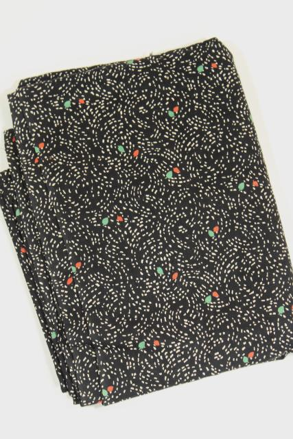 1920s vintage dress or skirt material, flapper era print on black cotton fabric