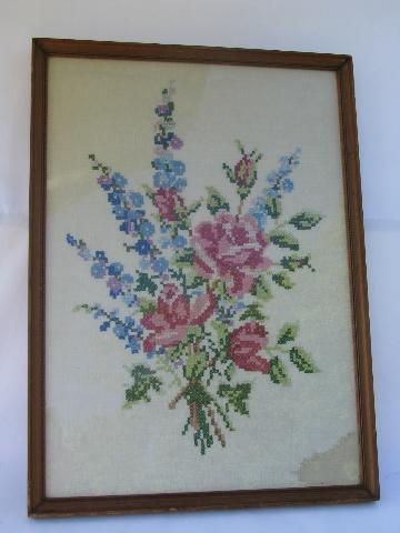 1920s vintage framed embroidery, roses floral bouquet embroidered picture