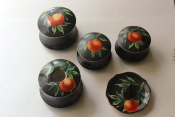 1920s vintage hand painted china vanity boxes set, chinoiserie peach fruit on black