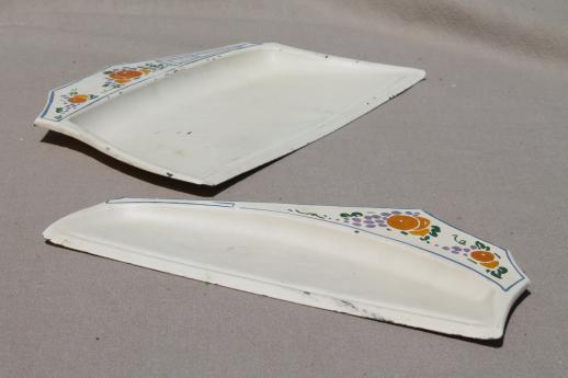 1920s vintage hand-painted metal crumb pan set, silent butler table sweeper