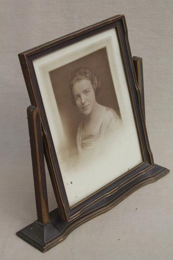 1920s vintage picture frame w/ Gatsby era photo portrait, pivot ...