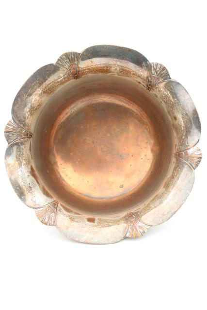 1920s vintage silver over copper, Sheffield shell footed bowl, antique silver plate