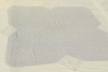 1920s vintage tablecloth, antique flax linen fabric w/ crochet butterfly lace motifs