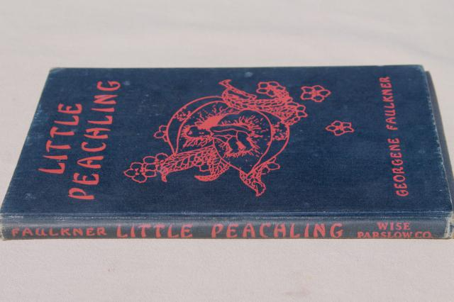 1928 vintage book of fairy tales, Little Peachling stories of old Japan color illustrations