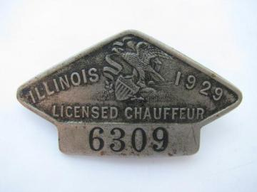 1929 licensed Illinois chauffeur badge pin license