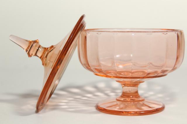 1930s 1940s vintage pink depression glass candy jar, pedestal dish