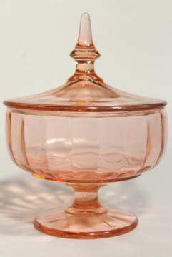 1930s 1940s vintage pink depression glass candy jar, pedestal dish with lid