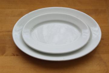 1930s - 1940s vintage restaurant china platters, heavy white ironstone ware