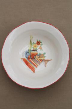 1930s 40s vintage Crown Ivory pottery bowl, Old Mexico cactus southwest hacienda