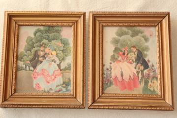 1930s 40s vintage Gone With The Wind style prints in tiny gold wood frames