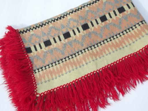 1930s 40s vintage Indian pattern cotton camp blanket w/ red wool fringe