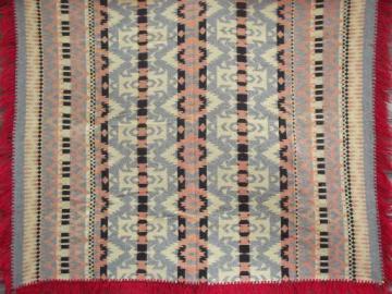 1930s 40s vintage Indian pattern cotton camp blanket w/ red wool fringe