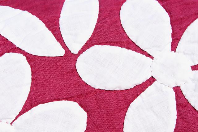 1930s 40s vintage applique flowers cotton quilt pink dogwood pattern