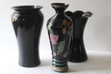 1930s 40s vintage black amethyst glass vases, art deco hand painted flower vase