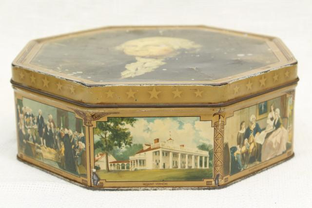 1930s 40s vintage candy box tin sewing basket w/ George Washington portrait