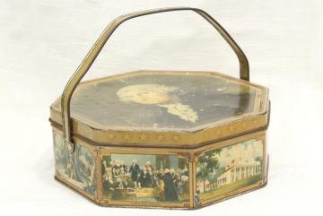 1930s 40s vintage candy box tin sewing basket w/ George Washington portrait