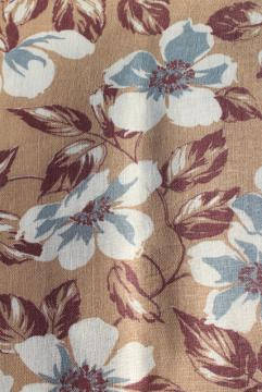 1930s 40s vintage cotton feed sack fabric, apple blossom print in brown & white